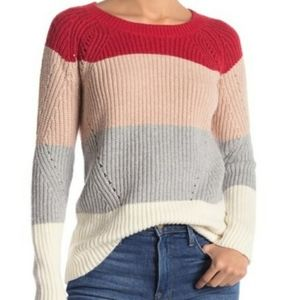Lucky Brand Red Tan Grey White Colorblock Sweater